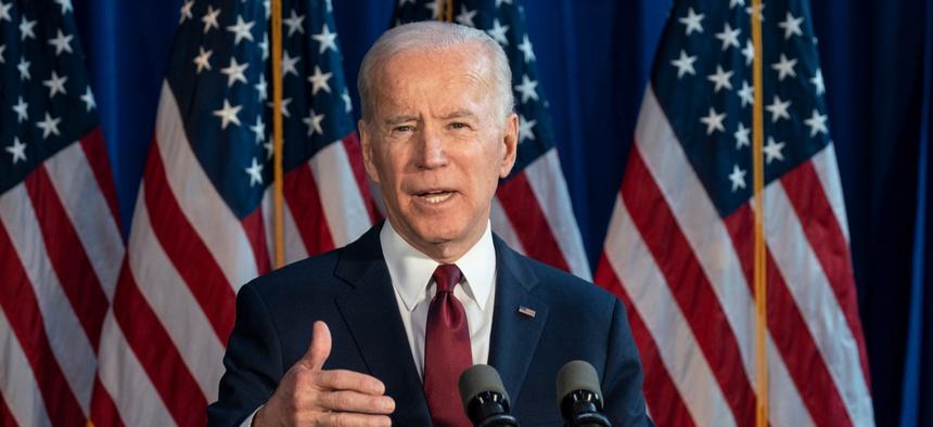 Joe Biden campaigns in New York in January.