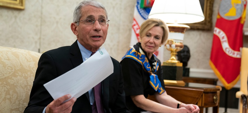 National Institute of Allergy and Infectious Diseases Director Dr. Anthony Fauci speaks during an April meeting between President Trump and Gov. John Bel Edwards, D-La. Fauci is one of the officials in a self-quarantine now.
