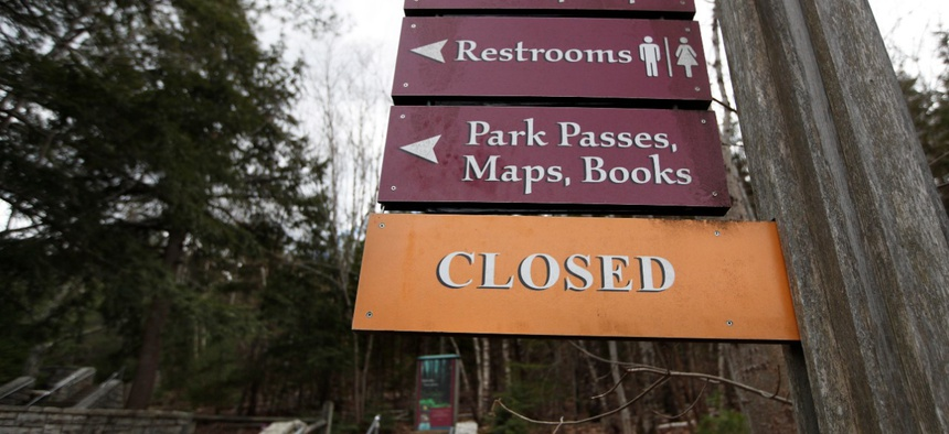 The Acadia National Park visitor center near Bar Harbor, Maine, remains closed to help prevent the spread of the coronavirus. Some national parks are starting to reopen gradually.