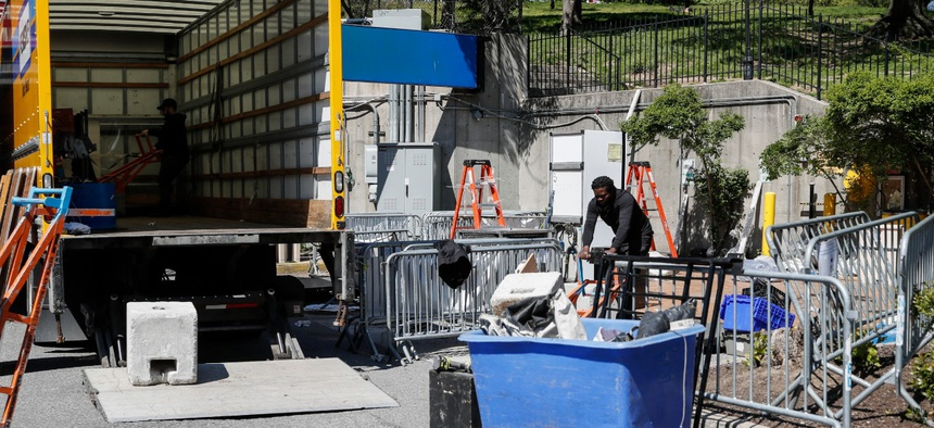 A COVID-19 testing site is deconstructed at the Brooklyn Hospital Center on May 12.  New York and New Jersey have handed over ventilators they received from Russia to FEMA because they didn't need them.