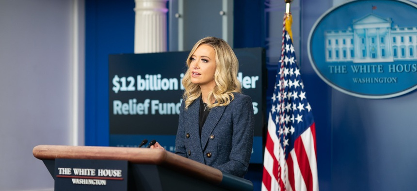 White House Press Secretary Kayleigh McEnany addresses reporters May 12.
