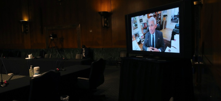 Dr. Anthony Fauci, director of the National Institute of Allergy and Infectious Diseases, speaks remotely during a virtual Senate Health, Education, Labor and Pensions Committee hearing on Tuesday.