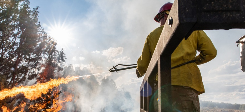 A firefighter burns vegetation along a control line in September to reduce the chances of spot fires on the Bureau of Land Management's Trout Springs Prescribed Fire in southwest Idaho.