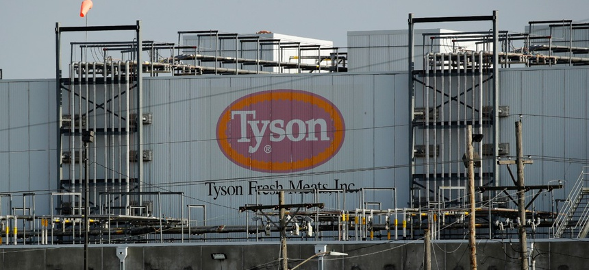 A Tyson Fresh Meats plant is seen on April 27 in Emporia, Kan.  Kansas is one of the states that has faced criticism over its lack of transparency about coronavirus cases in meat processing plants.
