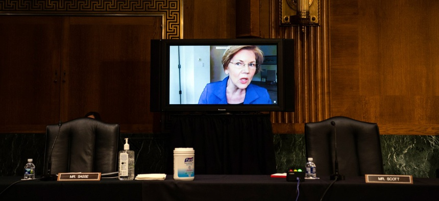 Sen. Elizabeth Warren, D-Mass., speaks during a nomination hearing last week. Warren and other Democratic senators have introduced a bill to create a national coronavirus contact-tracing plan.