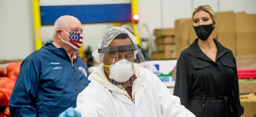 Ivanka Trump, the daughter of President Donald Trump, right, and Agriculture Secretary Sonny Perdue, left, tour Coastal Sunbelt Produce, Friday, May 15
