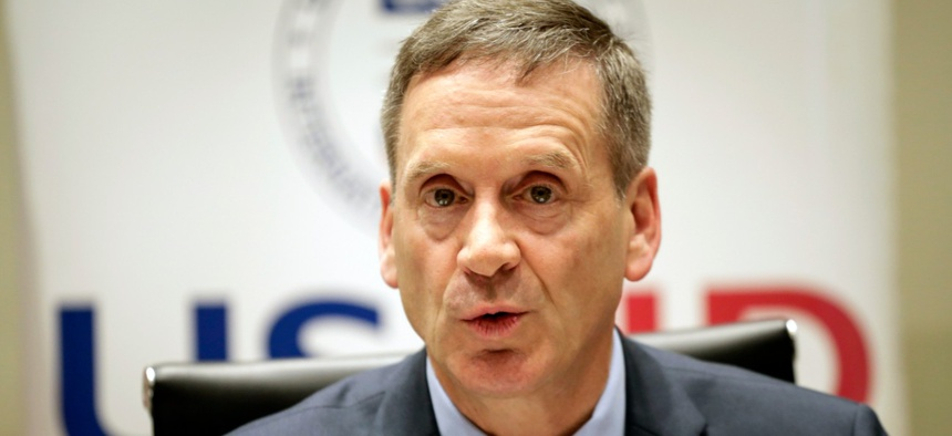 Ambassador Mark Green, former USAID Administrator, is an advocate for American leadership abroad. Above, he discusses efforts to contain Ebola at a 2019 news conference in Kenya.