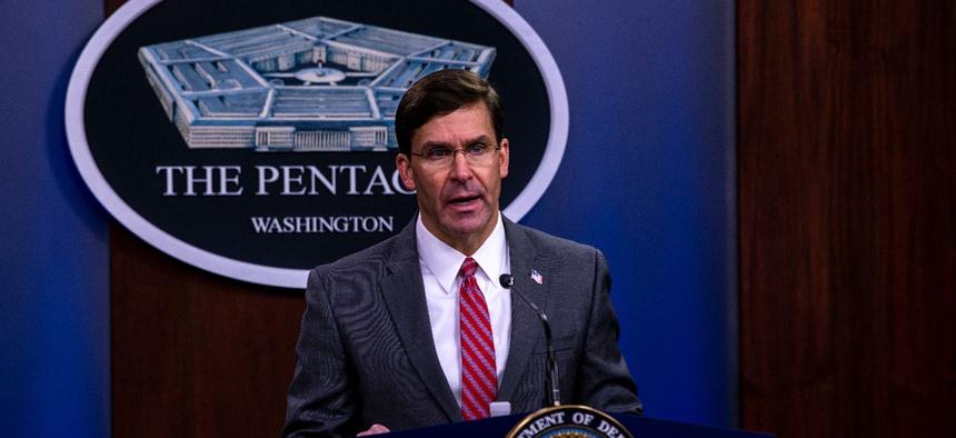 Defense Secretary Mark Esper holds a news conference at the Pentagon on June 3.