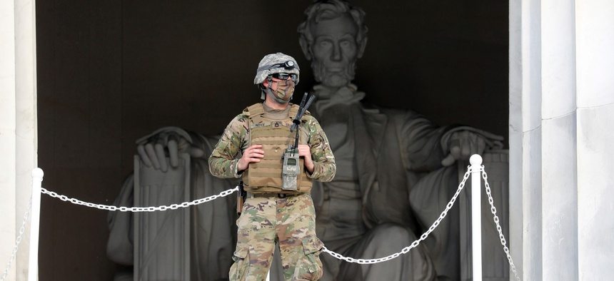 A Washington D.C. National Guard member stands guard and provides limited access at the Lincoln Memorial as D.C. prepares for another day of George Floyd protests on June 4.