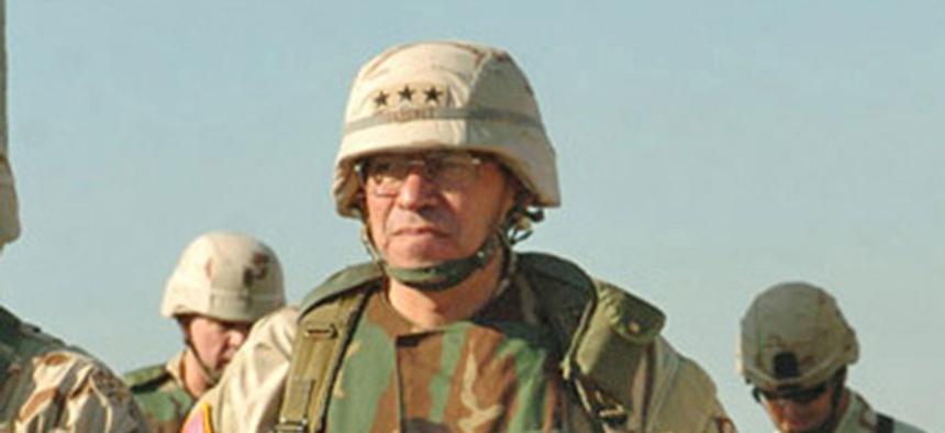 Ricardo Sanchez visits the 3rd Brigade Combat Team in 2004.
