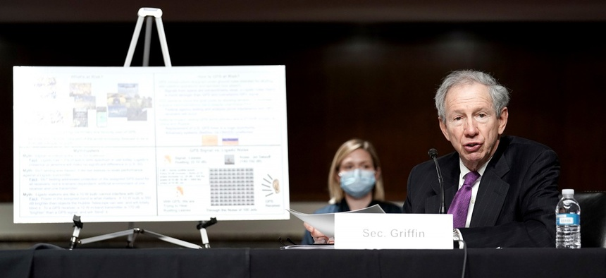Michael Griffin, under secretary of Defense for research and engineering, makes an opening statement during a Senate Armed Services Committee hearing in May.