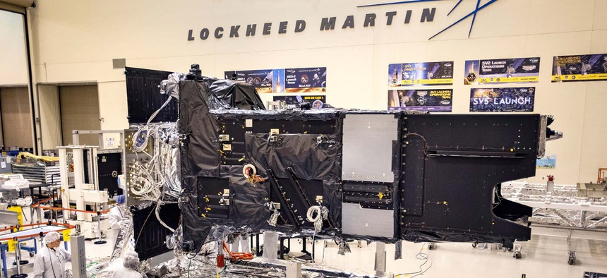 Lockheed Martin's fully-assembled SBIRS GEO 5 missile warning satellite moves into the Thermal Vacuum (TVAC) test chamber on April 1.