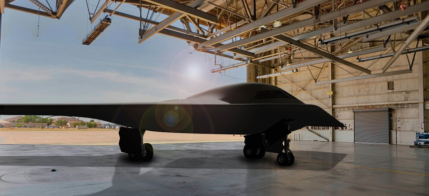 A rendering of a B-21 bomber at Dyess Air Force Base in Texas.