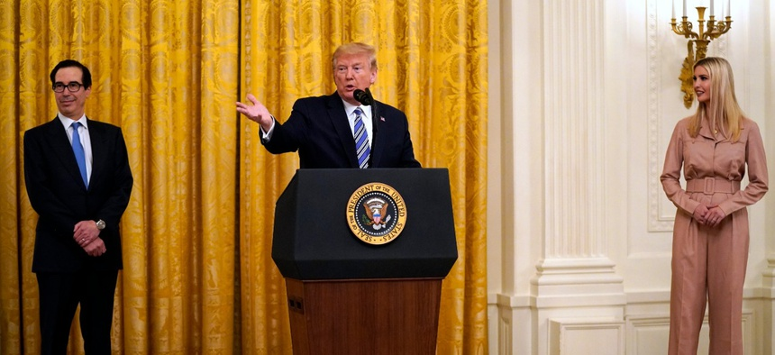 President Donald Trump speaks during an event about the Paycheck Protection Program in April.