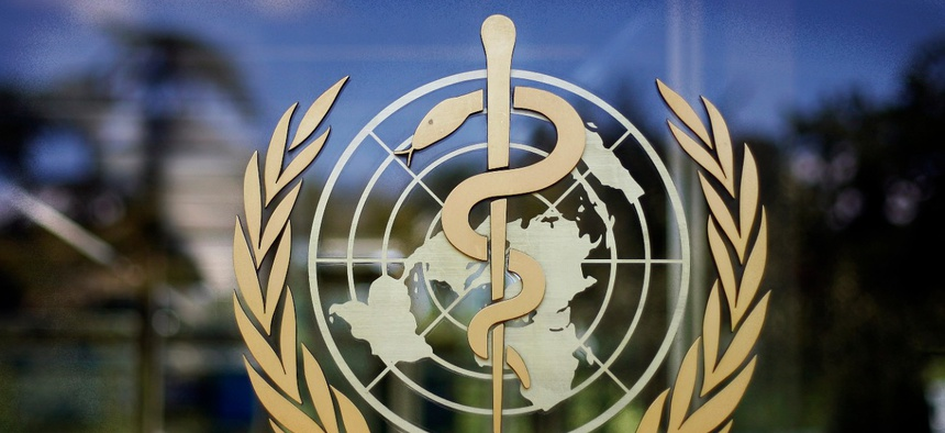 The logo of the World Health Organization is seen at the WHO headquarters in Geneva, Switzerland.