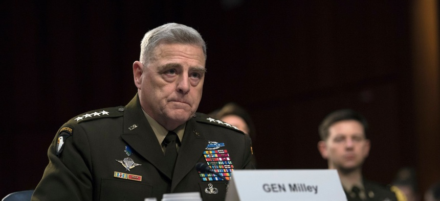Chairman of the Joint Chiefs of Staff Army Gen. Mark A. Milley provides testimony to the Senate Armed Services Committee in March.
