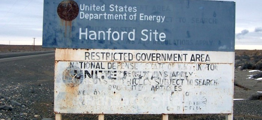 Warning sign at entry to Hanford Site, Washington, in 2005.