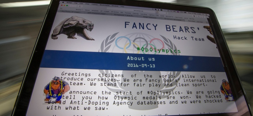 A screenshot of the Fancy Bears website fancybear.net seen on a computes screen in Moscow, Russia on Wednesday, Sept. 14, 2016.