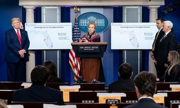 The White House Coronavirus Task Force addresses the press in April.