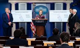 The White House Coronavirus Task Force addresses the press in April.
