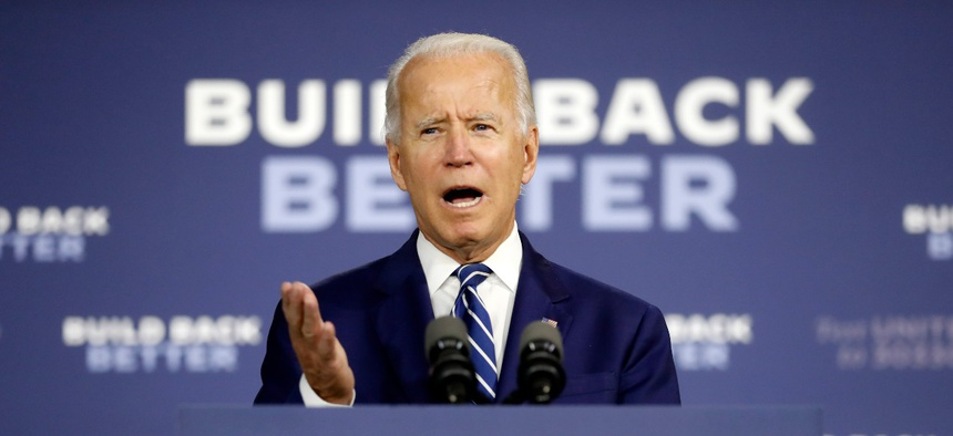 Democratic presidential candidate former Vice President Joe Biden speaks at a campaign event at the Colonial Early Education Program at the Colwyck Training Center on July 21 in New Castle, Del.
