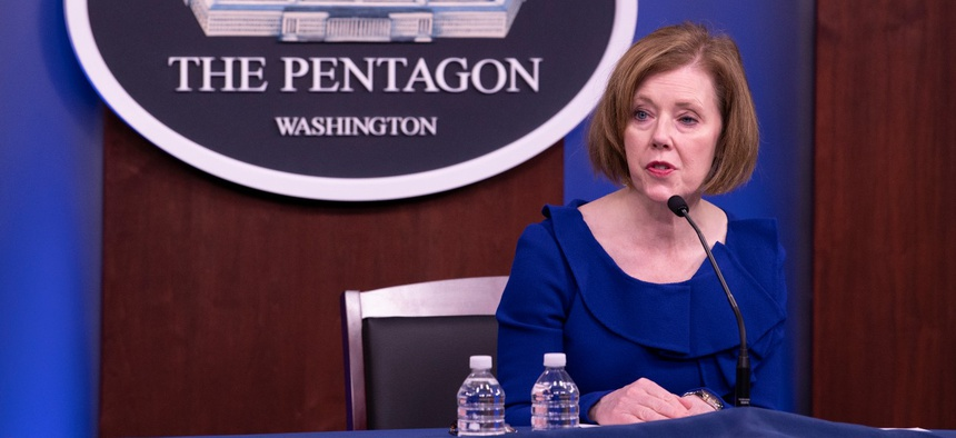 Pentagon Chief Management Officer Lisa Hershman answers questions during a briefing in May. Hershman told Federal News Network the Defense Department is more open to telework after seeing its success during the pandemic.