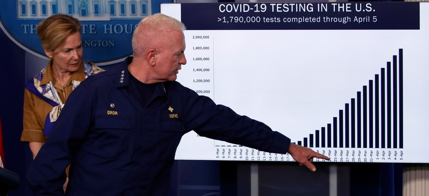 White House Coronavirus Task Force members reference a misleading chart in a press briefing.