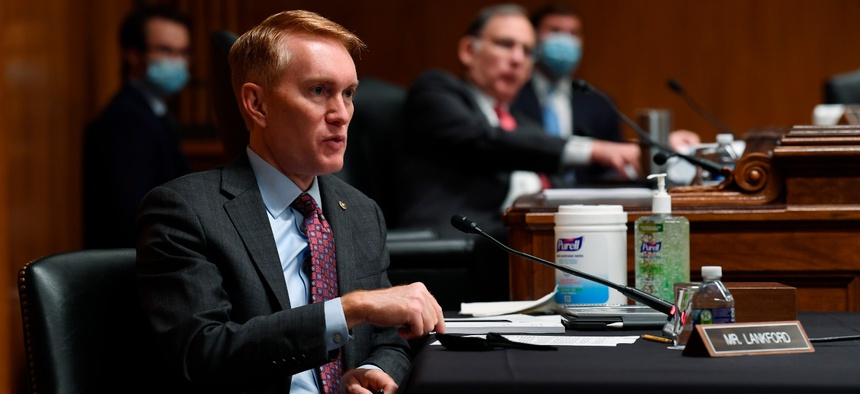 Sen. James Lankford, R- Okla., speaks during a Senate Appropriations subcommittee hearing on June 16. Lankford has said it might be time to update government telework policies.