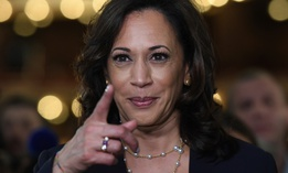 Sen. Kamala Harris, D-Calif., is in the spin room following the Democratic primary presidential debate on June 27. Presumptive Democratic presidential nominee Joe Biden has picked Harris as his running mate.