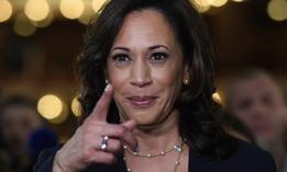 Sen. Kamala Harris, D-Calif., is in the spin room following the Democratic primary presidential debate on June 27. Presumptive Democratic presidential nominee Joe Biden has picked Harris as his running mate.