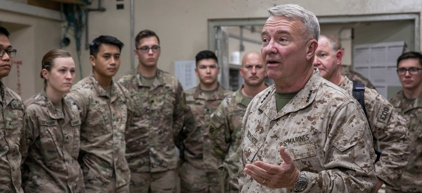U.S. Marine Corps Gen. Kenneth F. McKenzie Jr., the commander of U.S. Central Command, speaks to U.S. soldiers during a visit to Jalalabad, Afghanistan, in 2019.