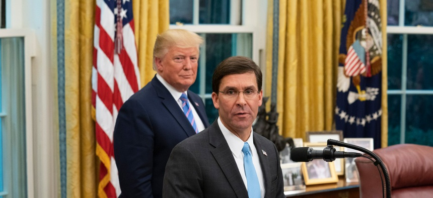 President Trump gave Defense Secretary Mark Esper authority to bar collective bargaining with federal unions, authority Esper has never exercised and which unions want to prohibit.