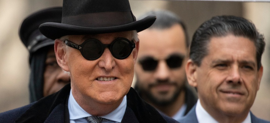 Roger Stone arrives for his sentencing at federal court in Washington on Feb. 20.
