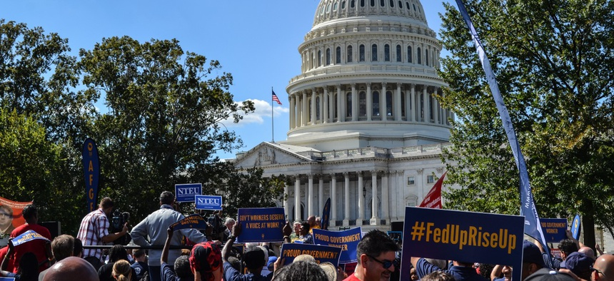 Federal employee union members rally near the Capitol in September 2019.