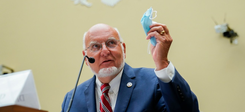 Robert Redfield, director of the Centers for Disease Control and Prevention, speaks during a July 31 House Select Subcommittee hearing on the coronavirus.