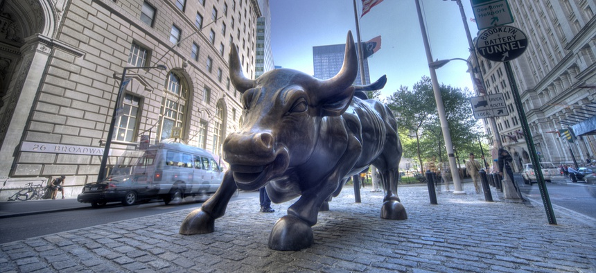 The Charging Bull sculpture in New York's financial district.