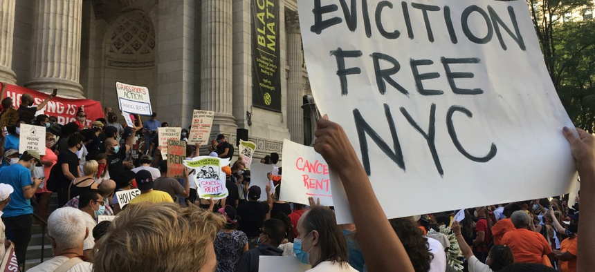 Protesters assembled at the New York Public Library and then headed east on 42nd street towards Madison and Park Avenue - home to some of the priciest real estate in Manhattan.