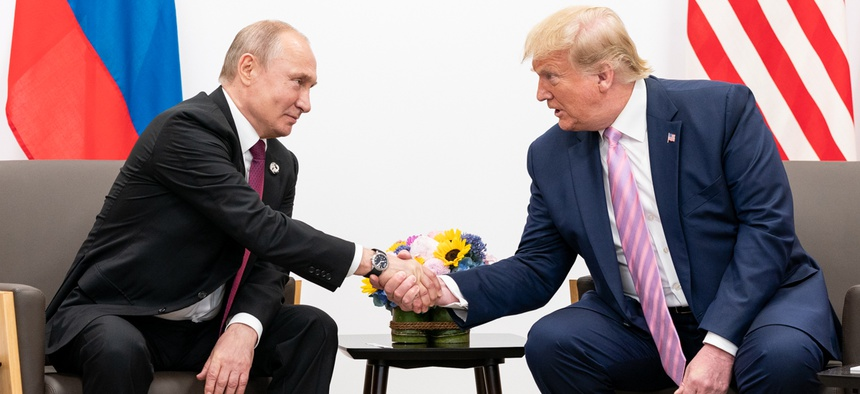 President Donald J. Trump participates in a bilateral meeting with the President of the Russian Federation Vladimir Putin during the G20 Japan Summit  in 2019.