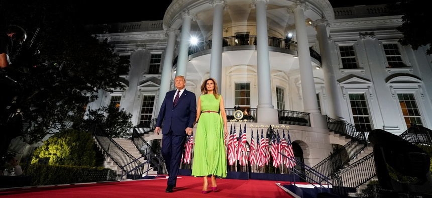 President Trump and First Lady Melania Trump arrive for his acceptance speech to the Republican National Committee Convention on the South Lawn of the White House on  Aug. 27.