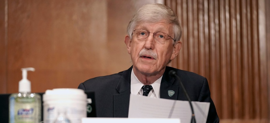 Dr. Francis Collins, director of the National Institutes of Health, gives an opening statement during a hearing to discuss vaccines and protecting public health during the coronavirus pandemic.