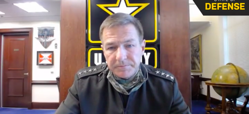 Army Chief of Staff Gen. James McConville discussed the Army's future during an interview with Defense One for the 'State of Defense' virtual event series, Tuesday, Sept. 8, 2020.