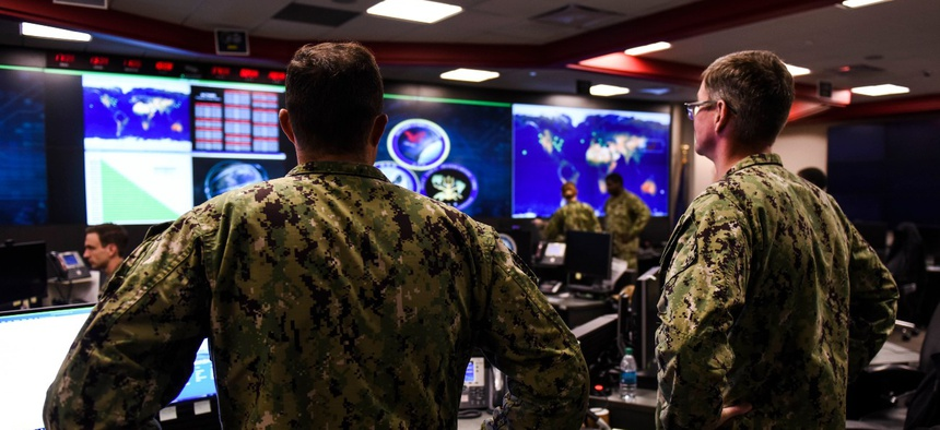 Sailors stand watch at headquarters of U.S. Fleet Cyber Command/U.S. 10th Fleet at Fort Meade, Maryland, in 2018.
