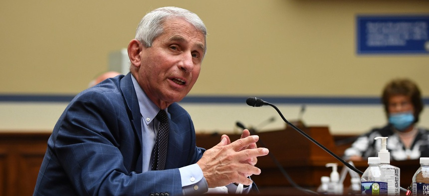 Dr. Anthony Fauci, director of the National Institute for Allergy and Infectious Diseases, speaks during a House Subcommittee on the Coronavirus crisis hearing on July 31.