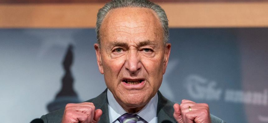 Senate Minority Leader Sen. Chuck Schumer of N.Y. speaks during a news conference on Sept. 9. Schumer has demanded that HHS Secretary Alex Azar resign over alleged political interference at the department.