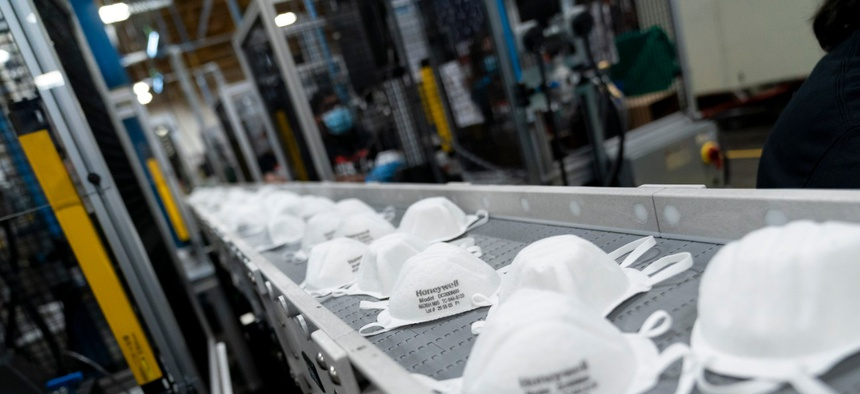 President Trump toured the mask production assembly line on May 5, 2020, at Honeywell International Inc. in Phoenix.