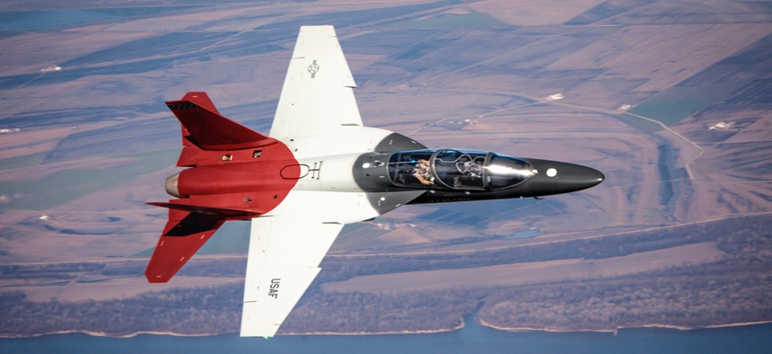 A Boeing T-7A Red Hawk jet on a test flight.