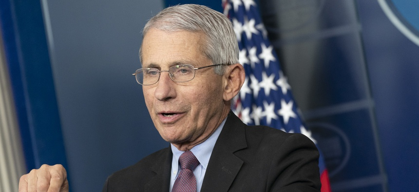 Fauci speaks at the White House in April.