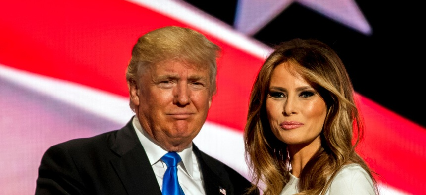Future First Lady Melania Trump with her husband Presidential candidate Donald Trump after she gave an address to the Republican National Nominating Convention in 2016. Both the president and first lady have tested positive for coronavirus.