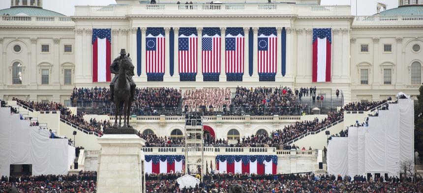 Donald Trump's inauguration is seen in 2017.