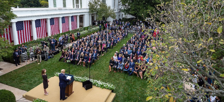 President Trump introduced Judge Amy Coney Barrett, his nominee for the U.S. Supreme Court, during a Sept. 26 Rose Garden event at the White House. Several people at the event later tested positive for COVID-19.